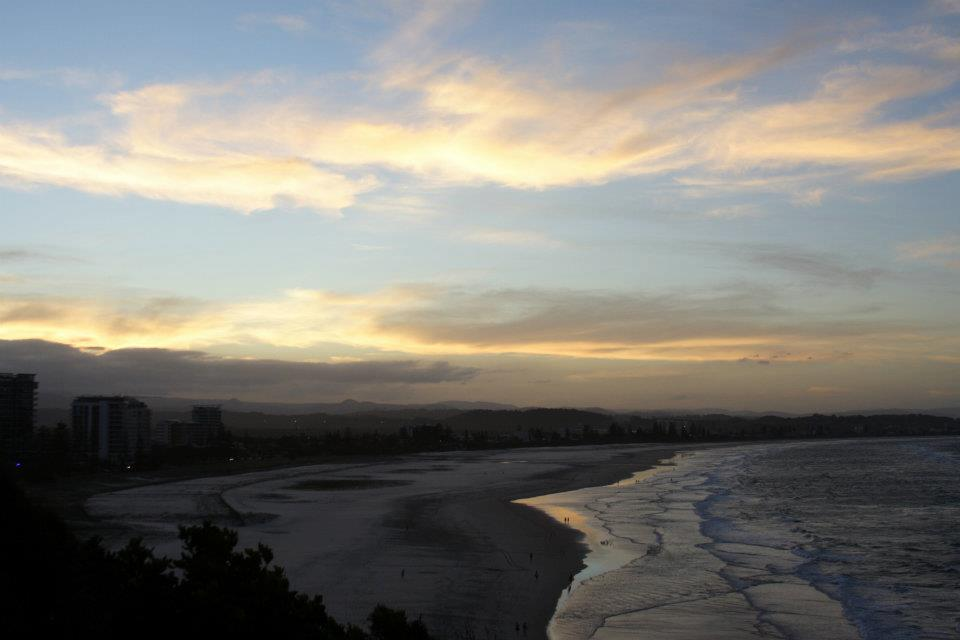 sunset at kirra